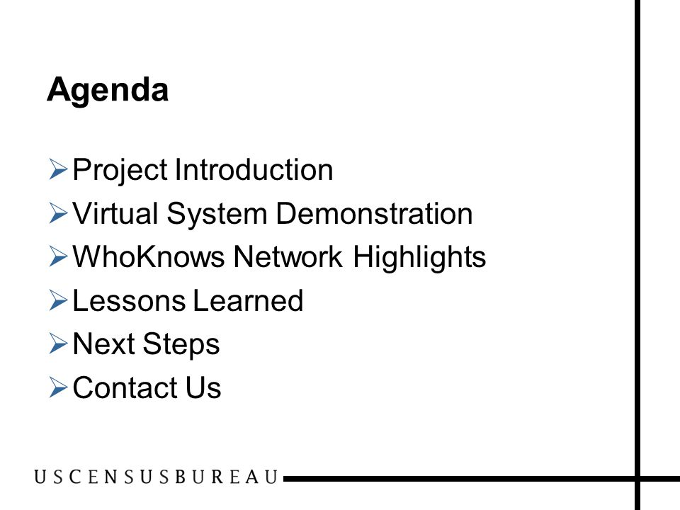 Agenda  Project Introduction  Virtual System Demonstration  WhoKnows Network Highlights  Lessons Learned  Next Steps  Contact Us