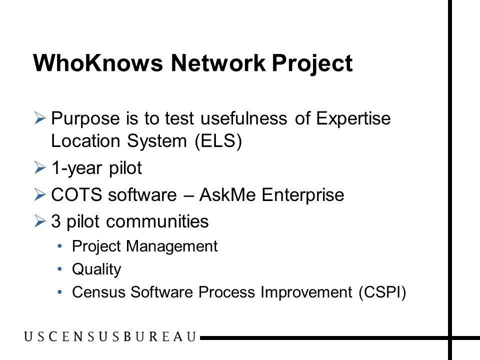 WhoKnows Network Communities  Community Requirements Exists oustide WhoKnows Network Community Champion Simple taxonomy A need to share and re-use knowledge  Three types of users Knowledge Seeker Knowledge Collaborator Community Champion