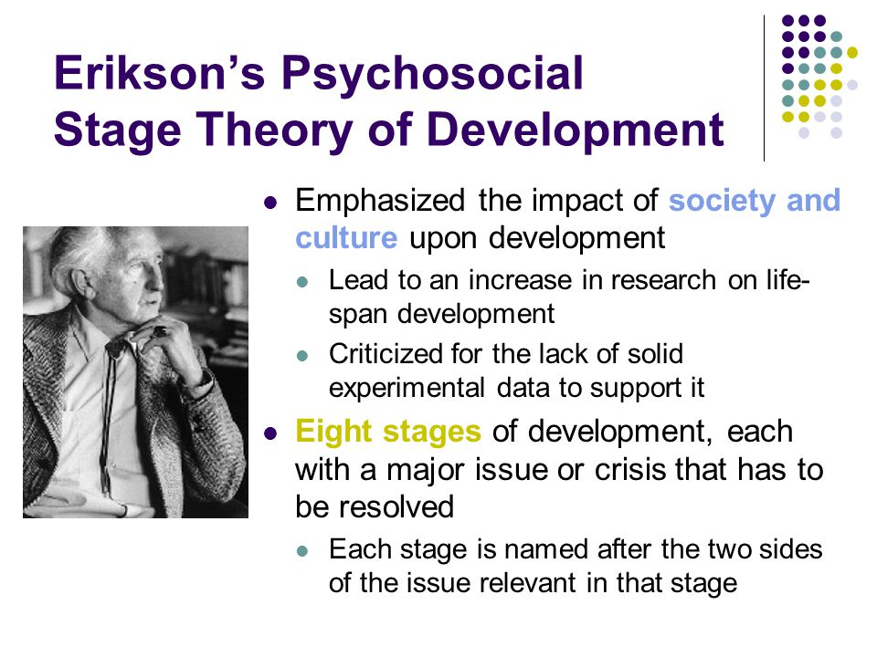 Erikson's Psychosocial Stage Theory of Development Emphasized the impact of society and culture upon development Lead to an increase in research on life- span development Criticized for the lack of solid experimental data to support it Eight stages of development, each with a major issue or crisis that has to be resolved Each stage is named after the two sides of the issue relevant in that stage