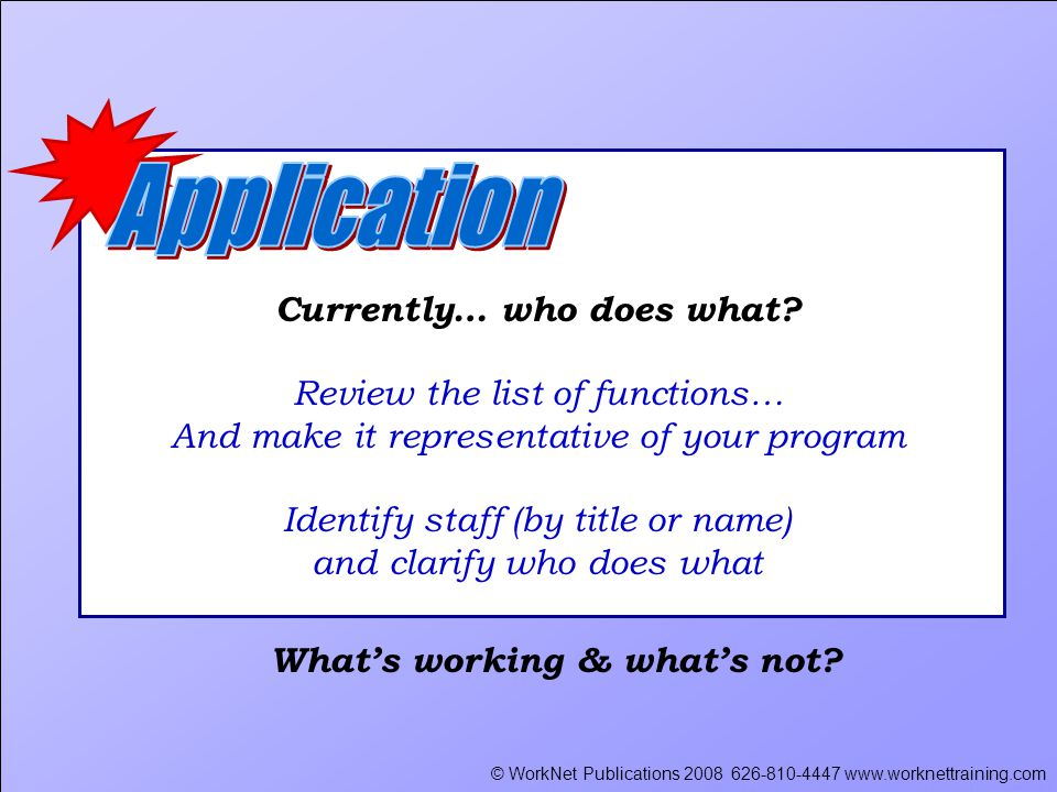 © WorkNet Publications 2008 626-810-4447 www.worknettraining.com Currently… who does what.