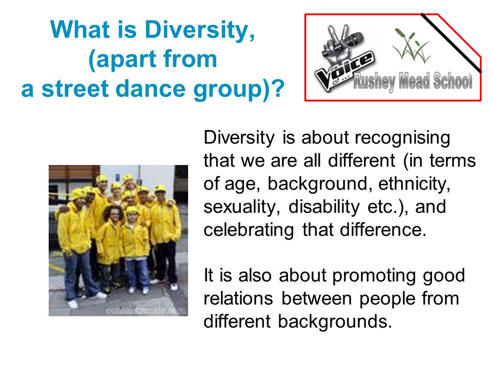 What is Diversity, (apart from a street dance group).
