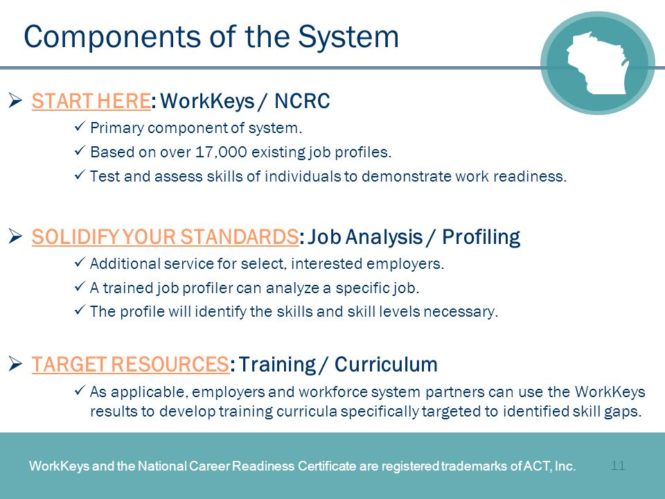 11 Components of the System  START HERE: WorkKeys / NCRC Primary component of system.
