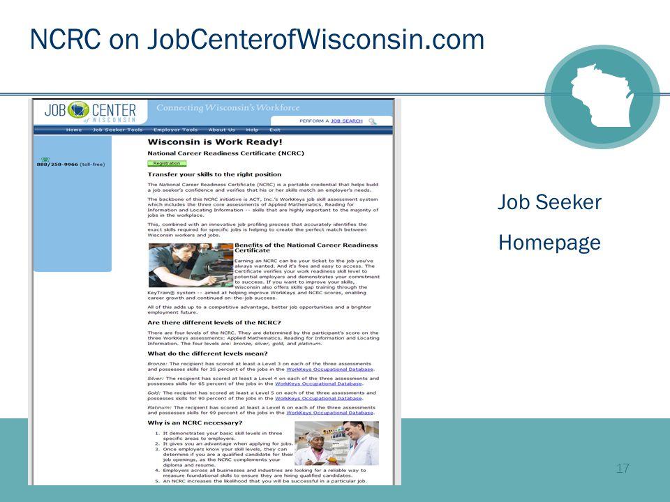 17 NCRC on JobCenterofWisconsin.com Job Seeker Homepage