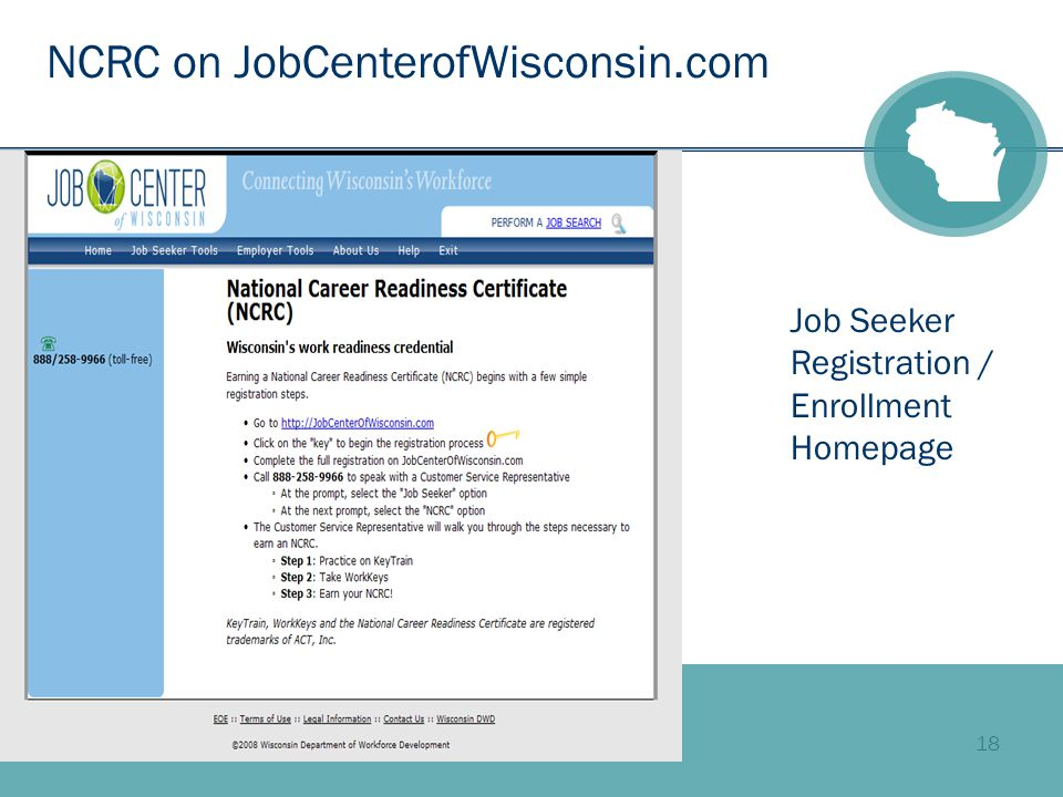 18 NCRC on JobCenterofWisconsin.com Job Seeker Registration / Enrollment Homepage
