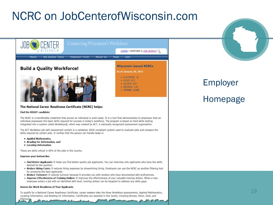 19 NCRC on JobCenterofWisconsin.com Employer Homepage