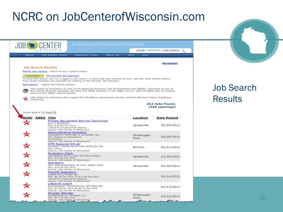 20 NCRC on JobCenterofWisconsin.com Job Search Results