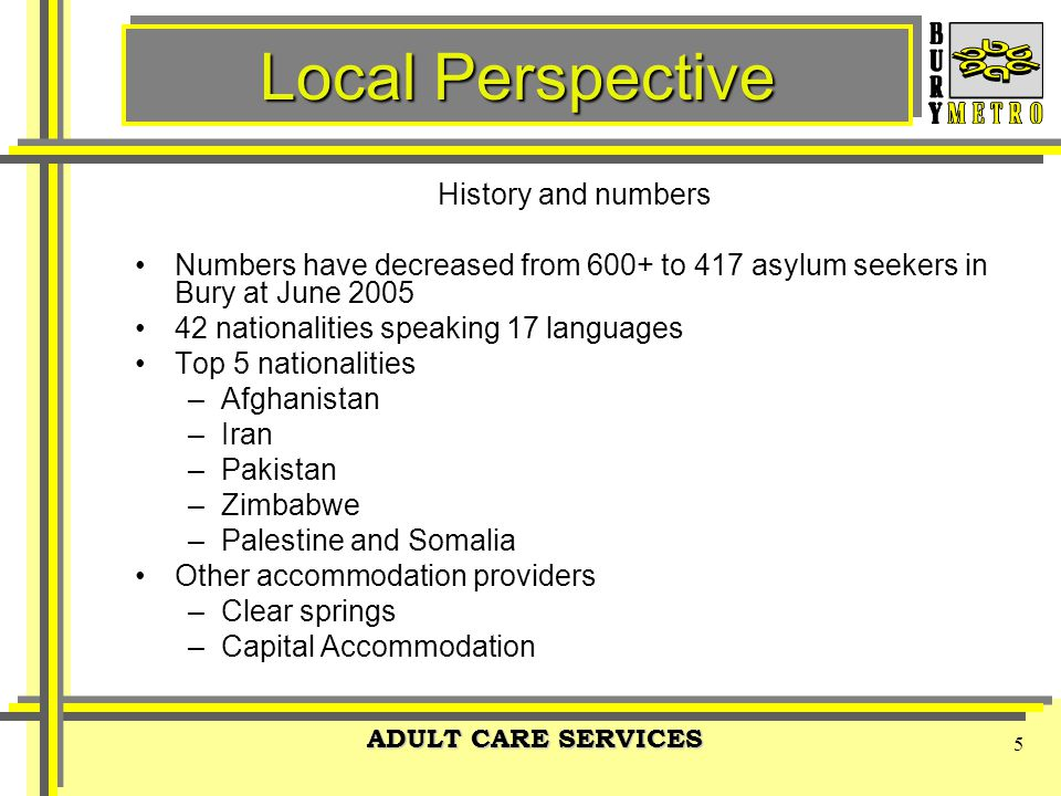 ADULT CARE SERVICES 5 Local Perspective History and numbers Numbers have decreased from 600+ to 417 asylum seekers in Bury at June 2005 42 nationalities speaking 17 languages Top 5 nationalities –Afghanistan –Iran –Pakistan –Zimbabwe –Palestine and Somalia Other accommodation providers –Clear springs –Capital Accommodation