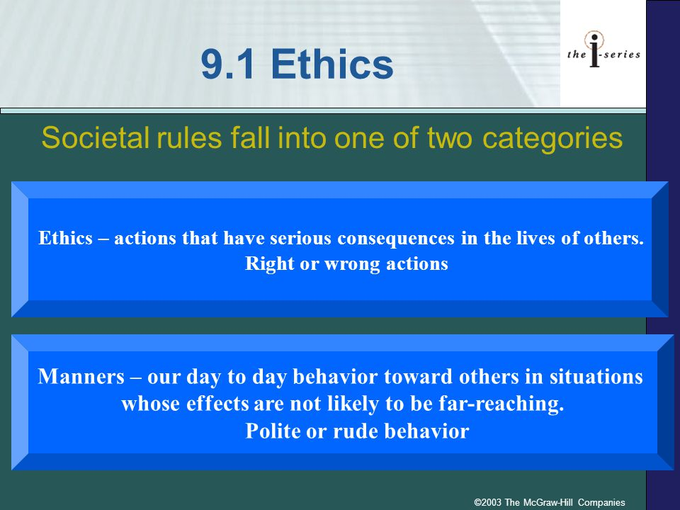 ©2003 The McGraw-Hill Companies Ethics in the Use of Computers Generally it is unethical to: –Use your computer to harm others –Use your computer to steal –Abuse your power –Use or access someone else s computer resources without permission –Copy copyrighted software for your own use or to give to others.