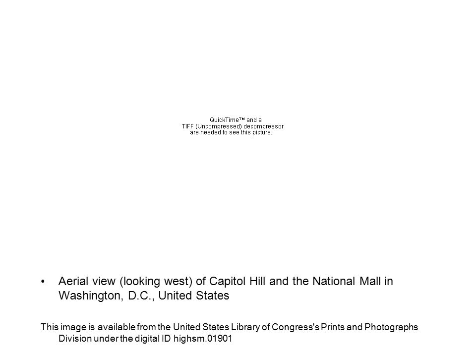 Aerial view (looking west) of Capitol Hill and the National Mall in Washington, D.C., United States This image is available from the United States Library of Congress s Prints and Photographs Division under the digital ID highsm.01901