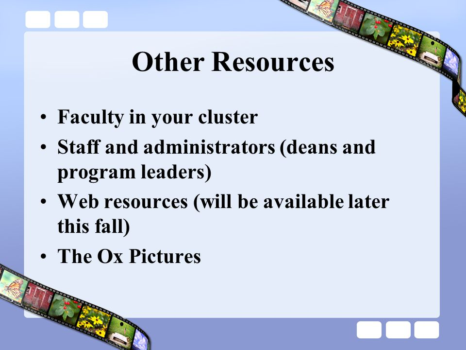 Other Resources Faculty in your cluster Staff and administrators (deans and program leaders) Web resources (will be available later this fall) The Ox Pictures