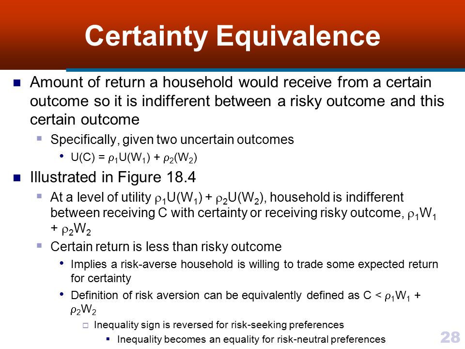 28 Certainty Equivalence Amount of return a household would receive from a certain outcome so it is indifferent between a risky outcome and this certa