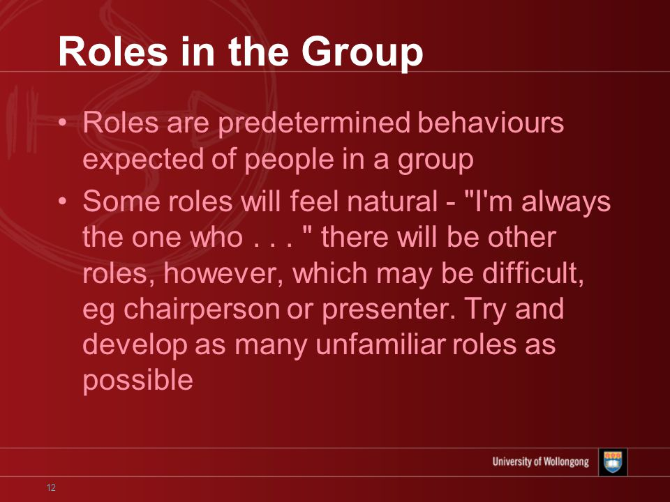 12 Roles in the Group Roles are predetermined behaviours expected of people in a group Some roles will feel natural - I m always the one who...