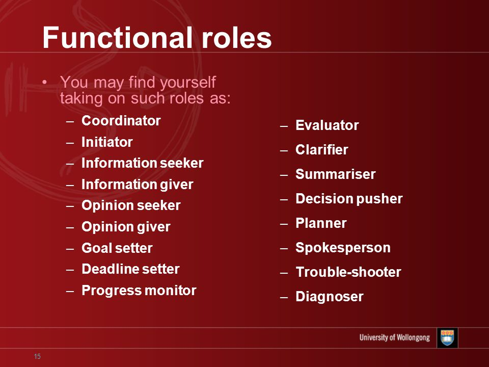 15 Functional roles You may find yourself taking on such roles as: –Coordinator –Initiator –Information seeker –Information giver –Opinion seeker –Opinion giver –Goal setter –Deadline setter –Progress monitor –Evaluator –Clarifier –Summariser –Decision pusher –Planner –Spokesperson –Trouble-shooter –Diagnoser