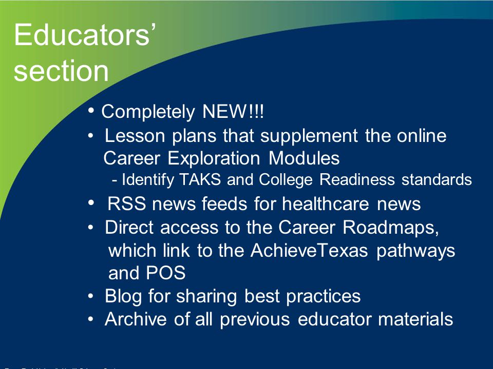 Educators' section Completely NEW!!.