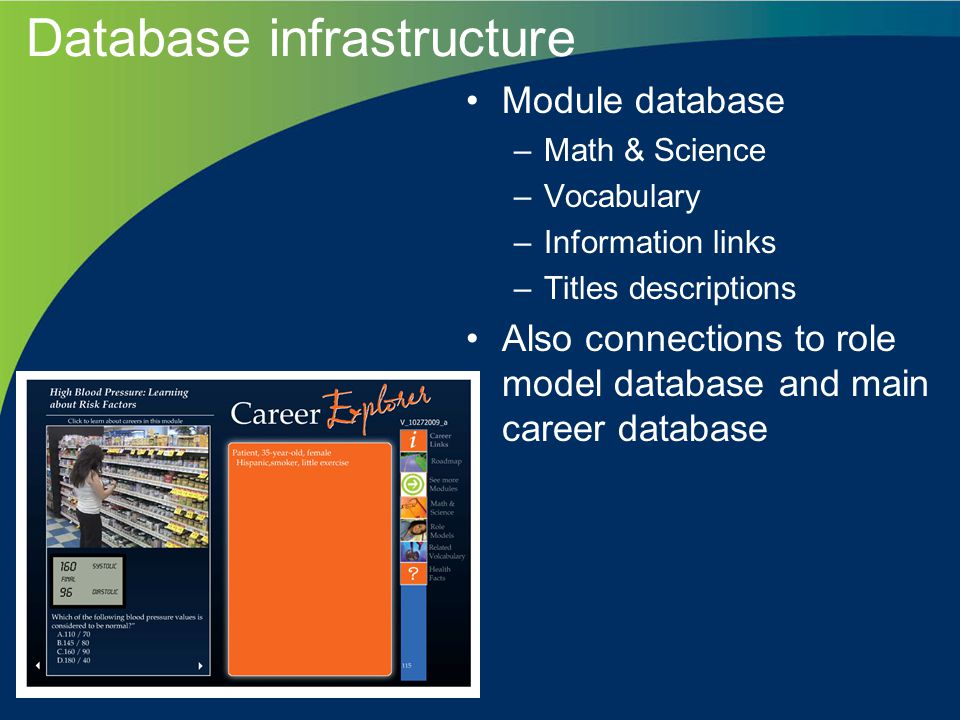 Database infrastructure Module database –Math & Science –Vocabulary –Information links –Titles descriptions Also connections to role model database and main career database