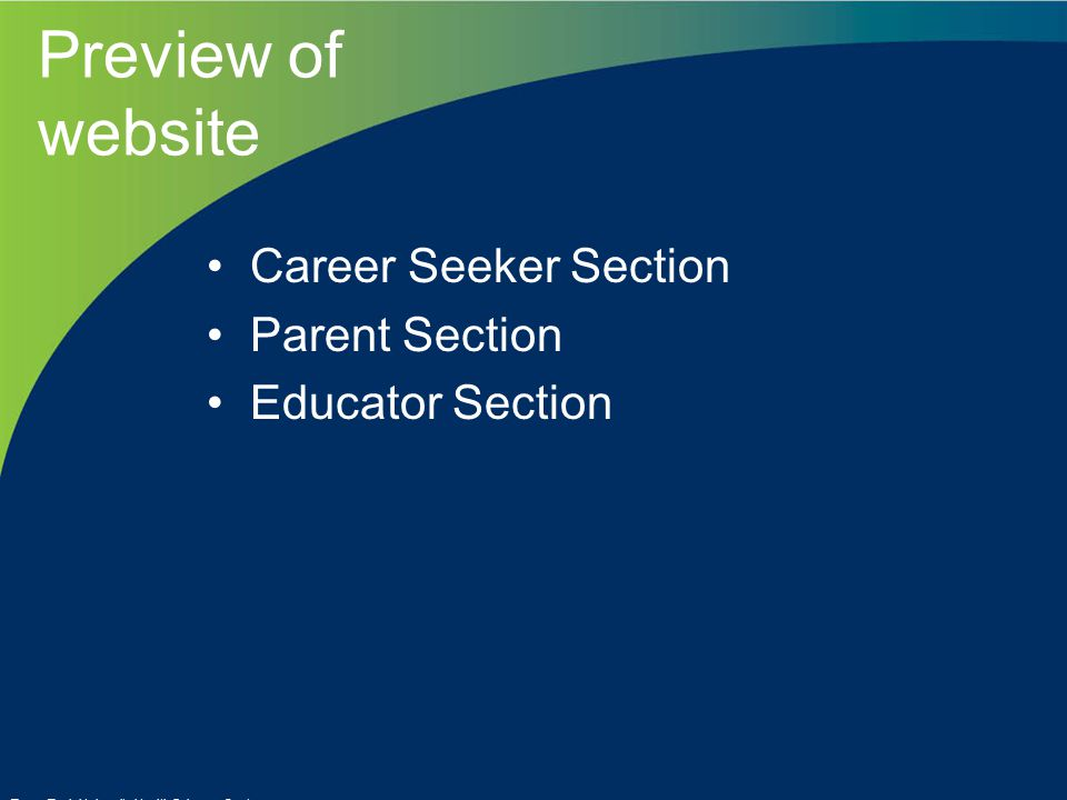 Preview of website Career Seeker Section Parent Section Educator Section Texas Tech University Health Sciences Center
