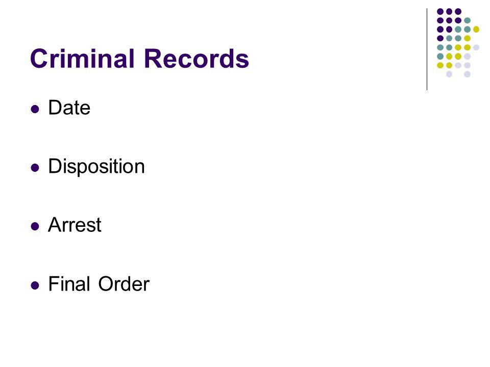 Criminal Records Date Disposition Arrest Final Order