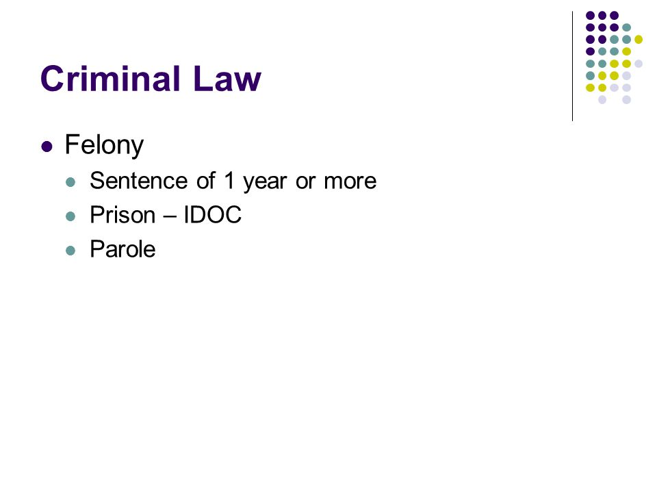Criminal Law Felony Sentence of 1 year or more Prison – IDOC Parole