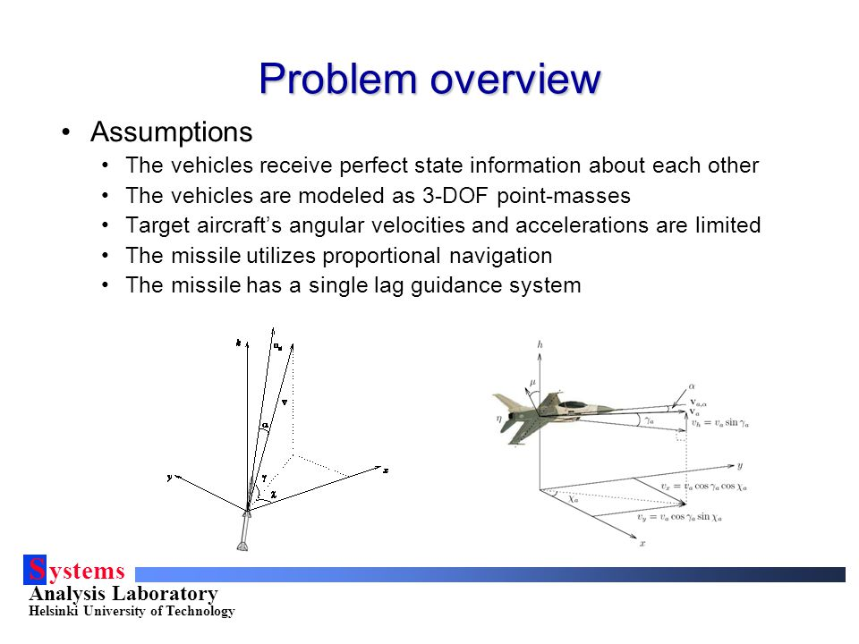 S ystems Analysis Laboratory Helsinki University of Technology Problem overview Assumptions The vehicles receive perfect state information about each other The vehicles are modeled as 3-DOF point-masses Target aircraft's angular velocities and accelerations are limited The missile utilizes proportional navigation The missile has a single lag guidance system