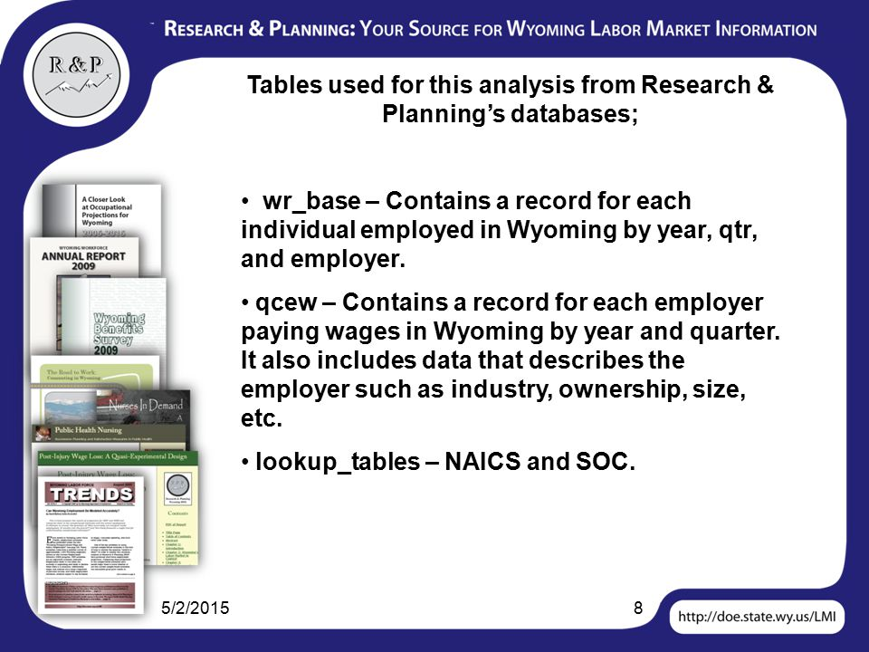 5/2/20158 Tables used for this analysis from Research & Planning's databases; wr_base – Contains a record for each individual employed in Wyoming by year, qtr, and employer.