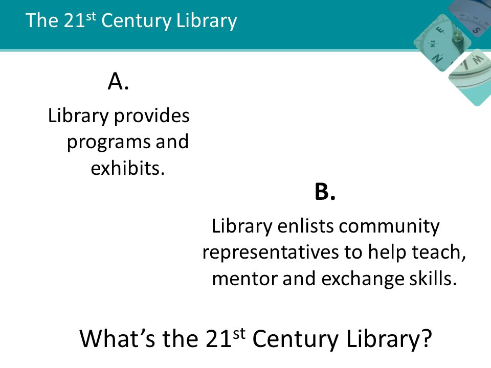 The 21 st Century Library A. Library provides programs and exhibits.
