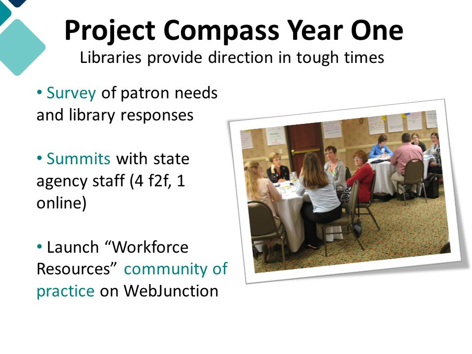 Project Compass Year One Survey of patron needs and library responses Summits with state agency staff (4 f2f, 1 online) Launch Workforce Resources community of practice on WebJunction Libraries provide direction in tough times