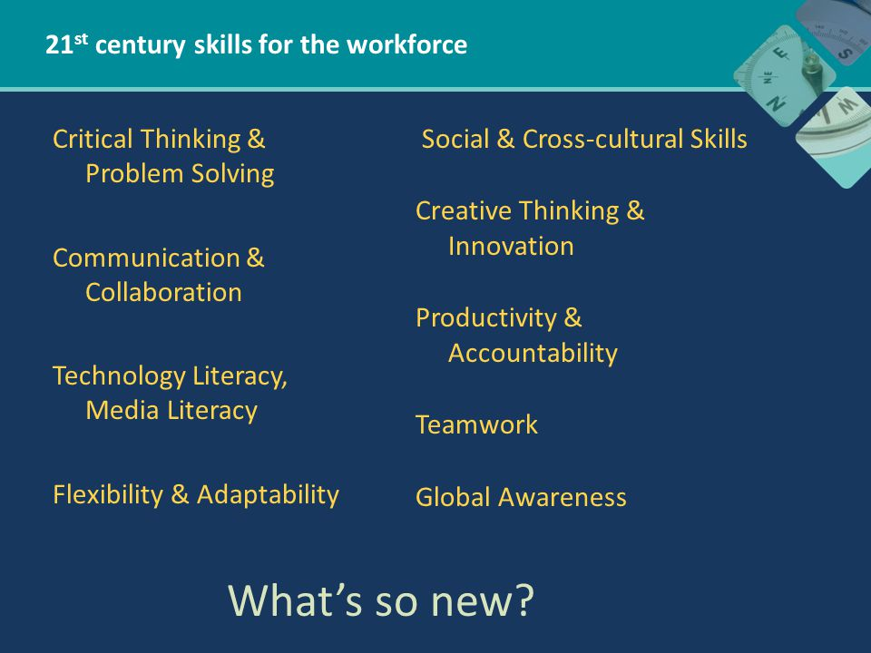 21 st century skills for the workforce Critical Thinking & Problem Solving Communication & Collaboration Technology Literacy, Media Literacy Flexibility & Adaptability Social & Cross-cultural Skills Creative Thinking & Innovation Productivity & Accountability Teamwork Global Awareness What's so new