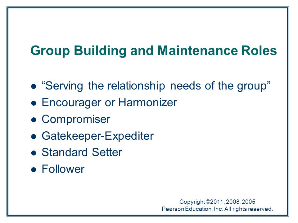 """Copyright ©2011, 2008, 2005 Pearson Education, Inc. All rights reserved. Group Building and Maintenance Roles """"Serving the relationship needs of the g"""