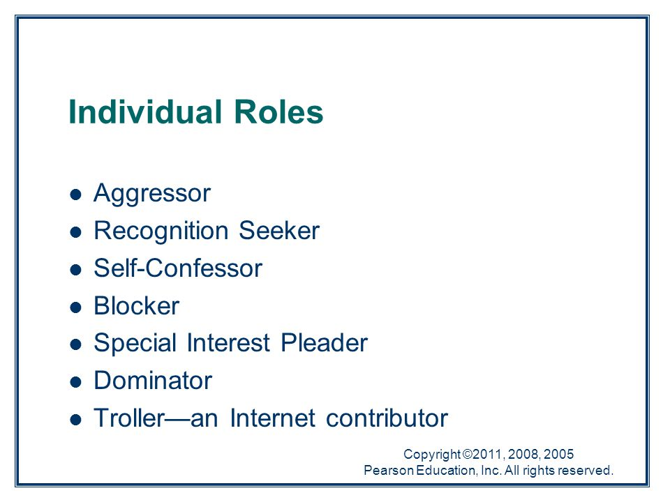 Copyright ©2011, 2008, 2005 Pearson Education, Inc. All rights reserved. Individual Roles Aggressor Recognition Seeker Self-Confessor Blocker Special