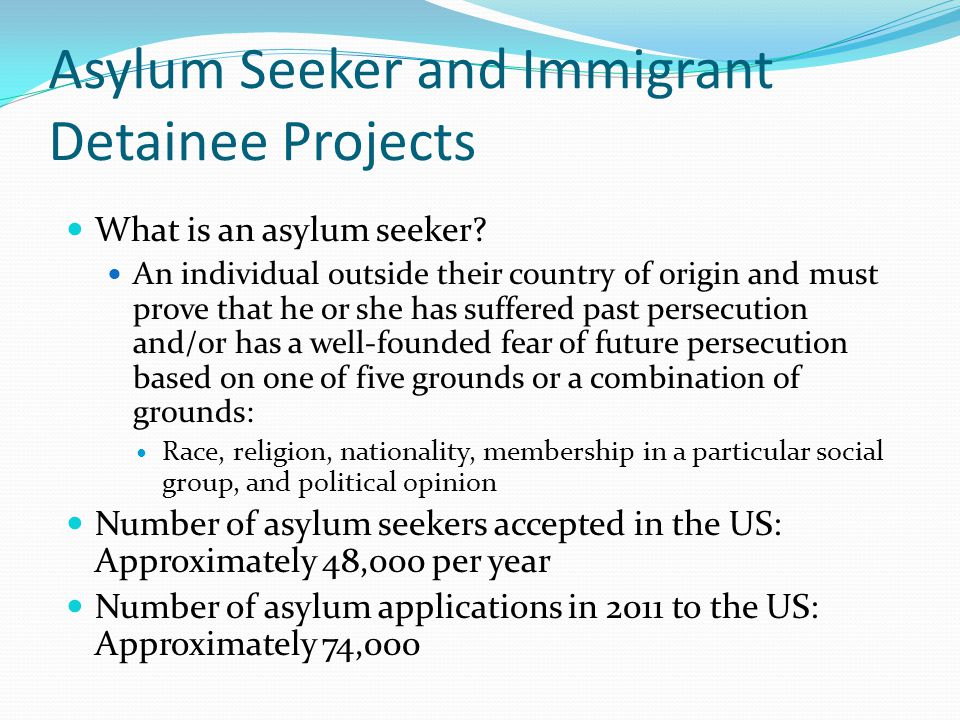 Asylum Seeker and Immigrant Detainee Projects What is an asylum seeker.
