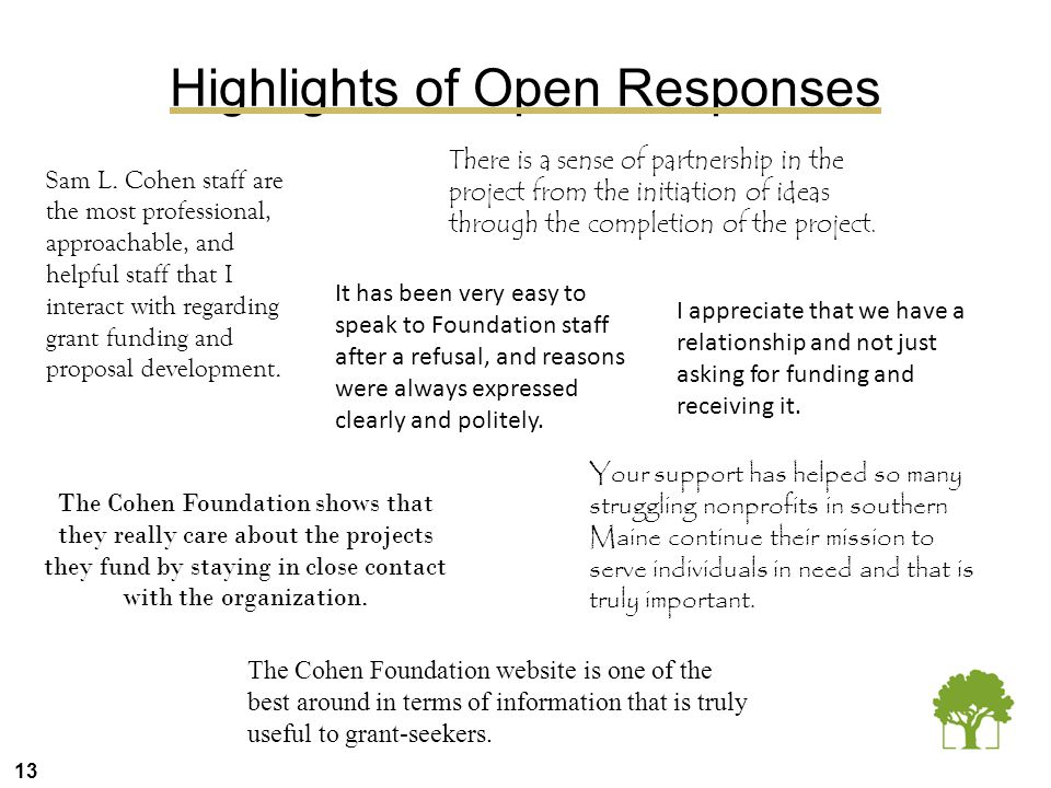 13 Highlights of Open Responses Sam L. Cohen staff are the most professional, approachable, and helpful staff that I interact with regarding grant fun