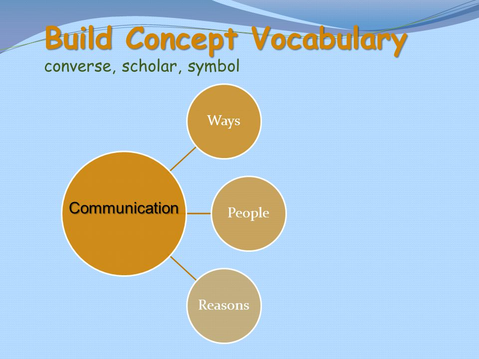 Build Concept Vocabulary Build Concept Vocabulary converse, scholar, symbol WaysPeopleReasons Communication
