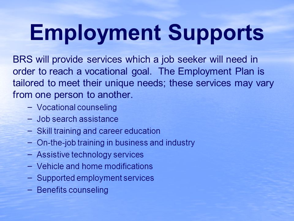 Employment Supports BRS will provide services which a job seeker will need in order to reach a vocational goal.