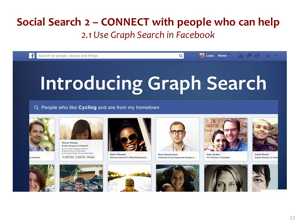 Social Search 2 – CONNECT with people who can help 2.1 Use Graph Search in Facebook 23