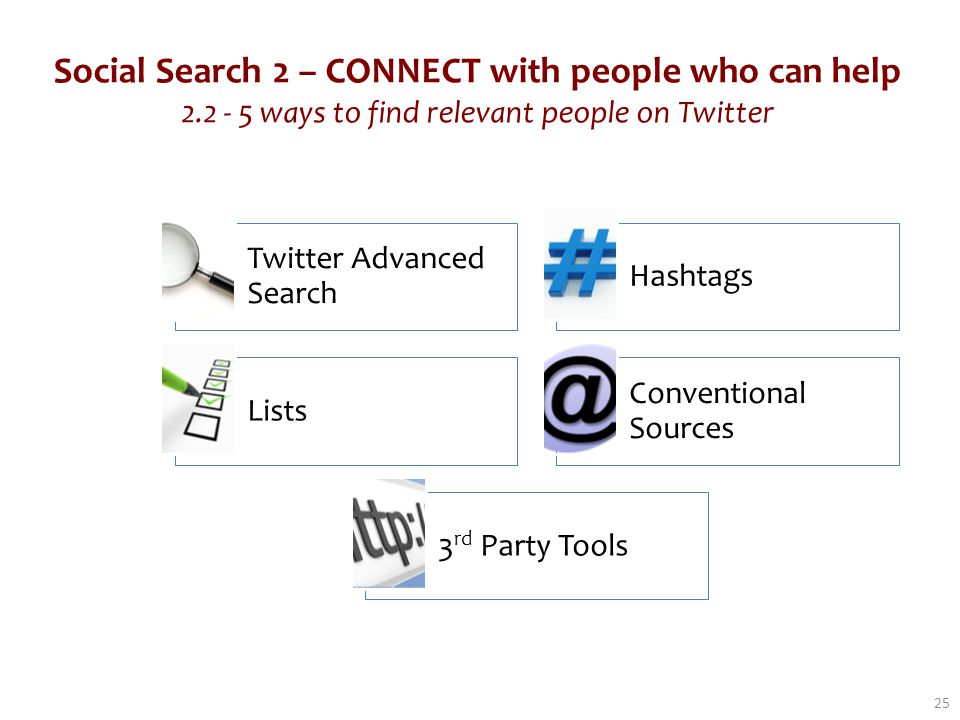 Social Search 2 – CONNECT with people who can help 2.2 - 5 ways to find relevant people on Twitter 25 Twitter Advanced Search Hashtags Lists Conventional Sources 3 rd Party Tools