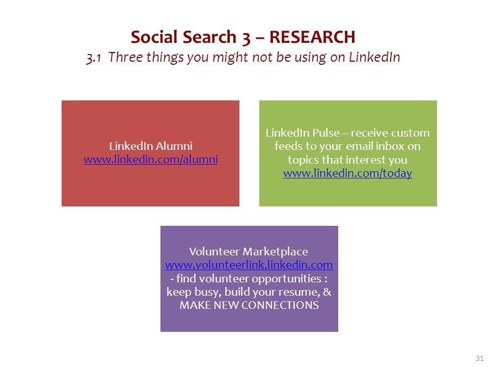 Social Search 3 – RESEARCH 3.1 Three things you might not be using on LinkedIn 31 LinkedIn Alumni www.linkedin.com/alumni www.linkedin.com/alumni LinkedIn Pulse – receive custom feeds to your email inbox on topics that interest you www.linkedin.com/today www.linkedin.com/today Volunteer Marketplace www.volunteerlink.linkedin.com - find volunteer opportunities : keep busy, build your resume, & MAKE NEW CONNECTIONS www.volunteerlink.linkedin.com