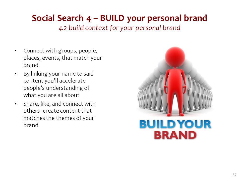 Social Search 4 – BUILD your personal brand 4.2 build context for your personal brand Connect with groups, people, places, events, that match your brand By linking your name to said content you'll accelerate people's understanding of what you are all about Share, like, and connect with others--create content that matches the themes of your brand 37