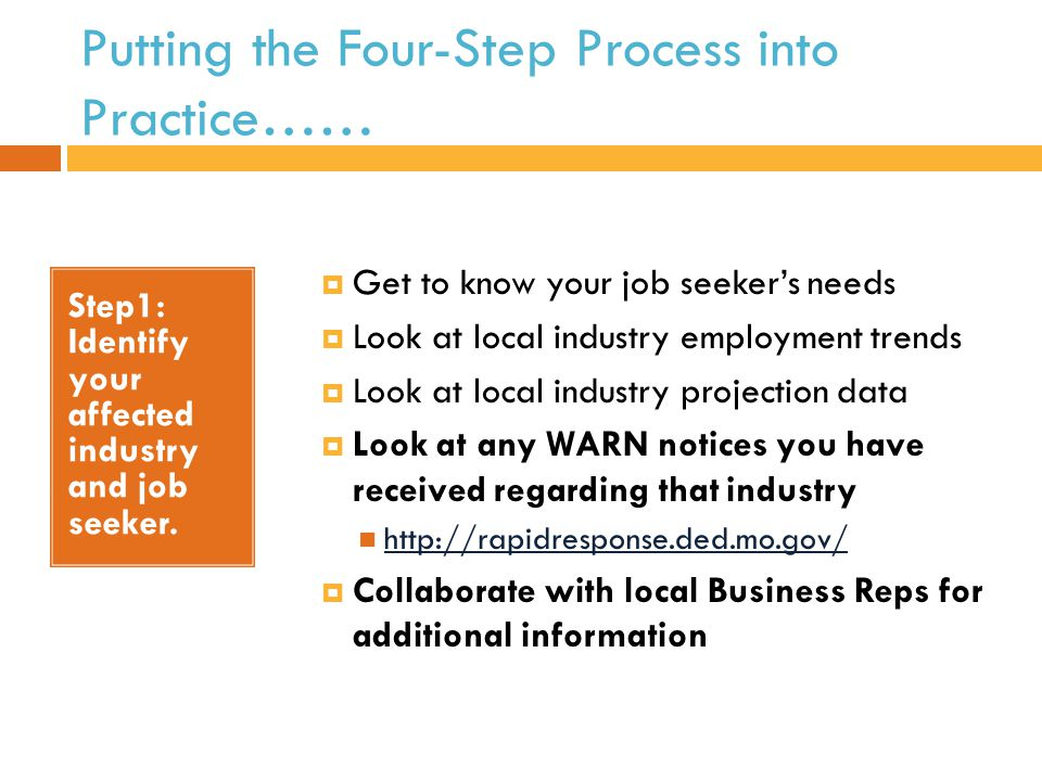 Putting the Four-Step Process into Practice…… Step1: Identify your affected industry and job seeker.
