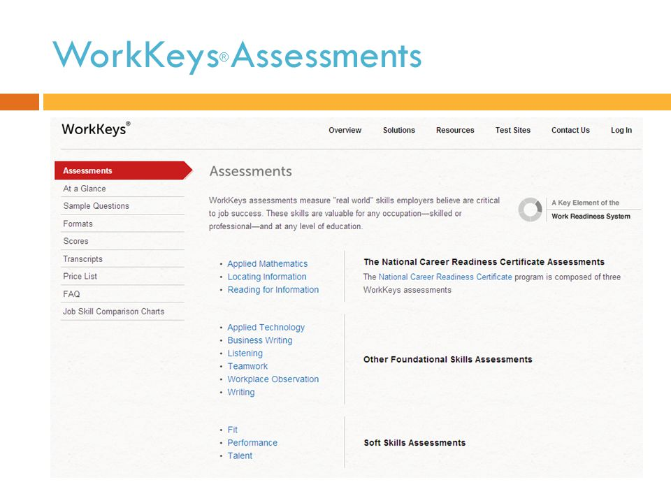 WorkKeys ® Assessments