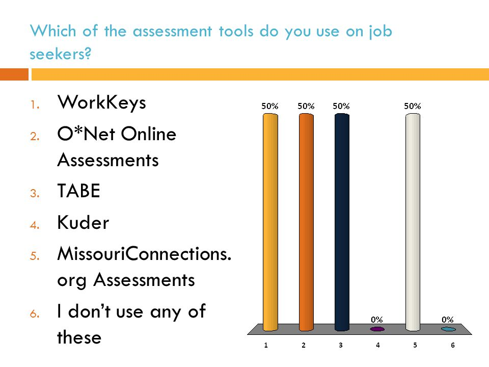 Which of the assessment tools do you use on job seekers.