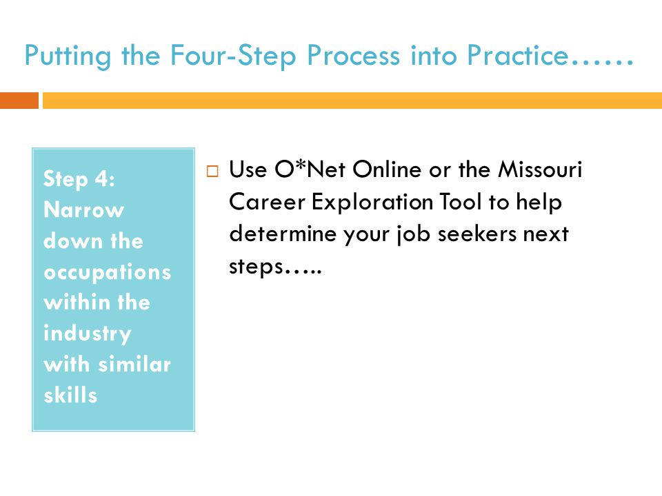 Putting the Four-Step Process into Practice…… Step 4: Narrow down the occupations within the industry with similar skills  Use O*Net Online or the Missouri Career Exploration Tool to help determine your job seekers next steps…..