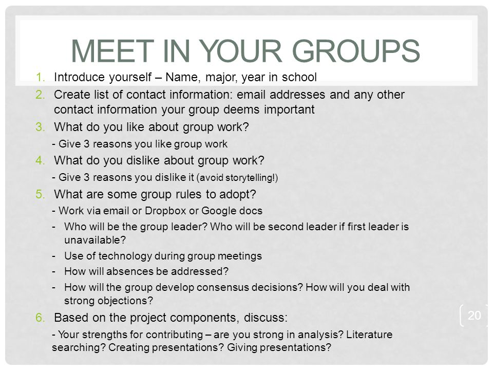 MEET IN YOUR GROUPS 1.Introduce yourself – Name, major, year in school 2.Create list of contact information: email addresses and any other contact inf