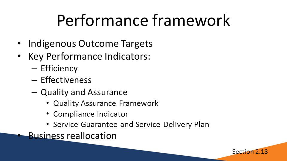 Performance framework Indigenous Outcome Targets Key Performance Indicators: – Efficiency – Effectiveness – Quality and Assurance Quality Assurance Fr