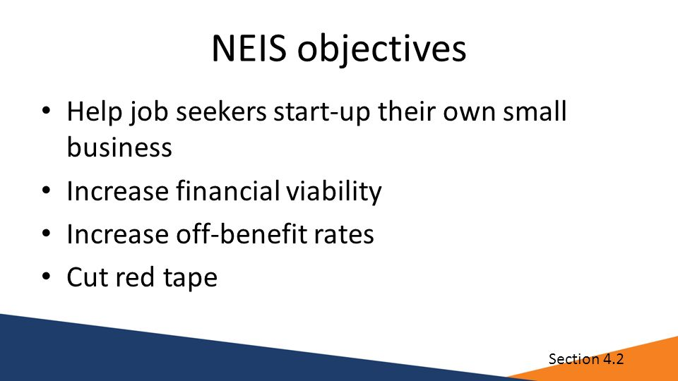 NEIS objectives Help job seekers start-up their own small business Increase financial viability Increase off-benefit rates Cut red tape Section 4.2