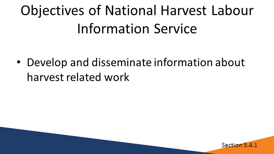 Objectives of National Harvest Labour Information Service Develop and disseminate information about harvest related work Section 5.4.1