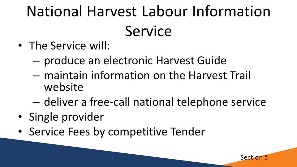 National Harvest Labour Information Service The Service will: – produce an electronic Harvest Guide – maintain information on the Harvest Trail websit