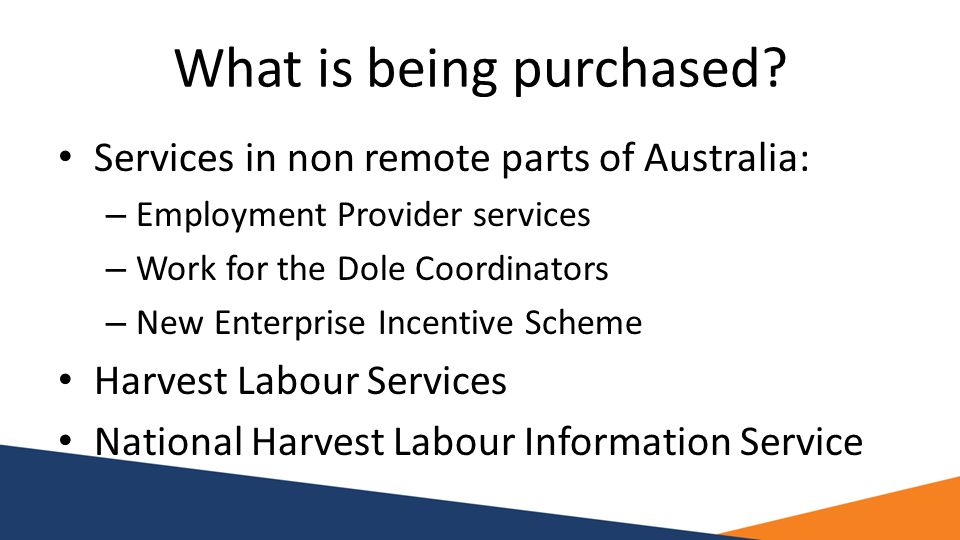 What is being purchased? Services in non remote parts of Australia: – Employment Provider services – Work for the Dole Coordinators – New Enterprise I