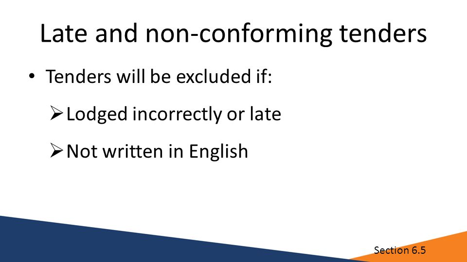 Late and non-conforming tenders Tenders will be excluded if:  Lodged incorrectly or late  Not written in English Section 6.5