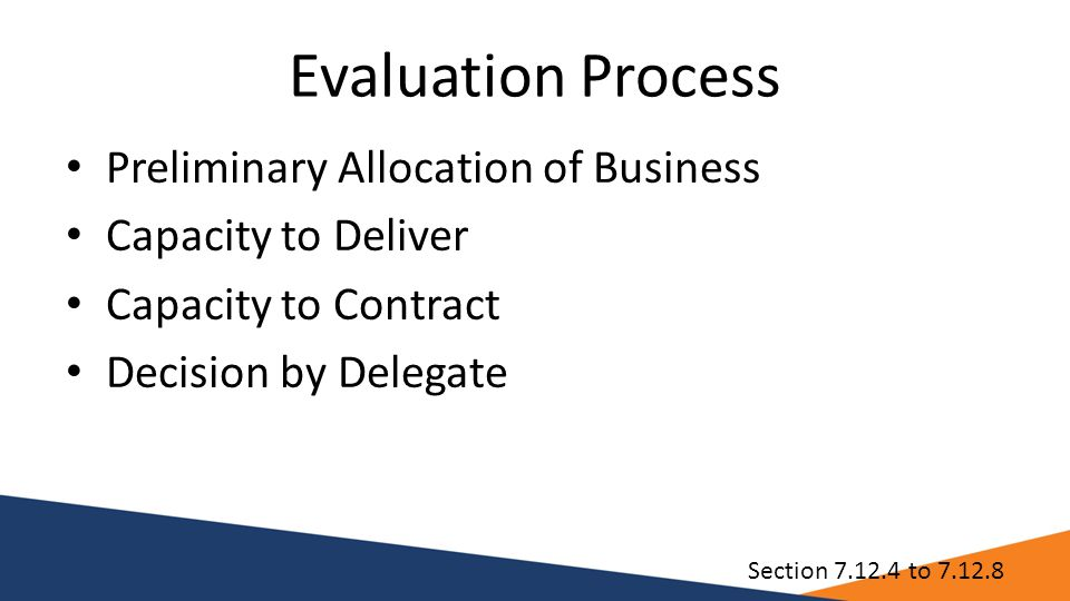 Evaluation Process Preliminary Allocation of Business Capacity to Deliver Capacity to Contract Decision by Delegate Section 7.12.4 to 7.12.8