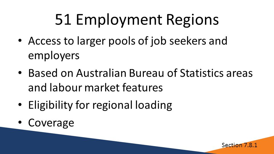 51 Employment Regions Access to larger pools of job seekers and employers Based on Australian Bureau of Statistics areas and labour market features Eligibility for regional loading Coverage Section 7.8.1